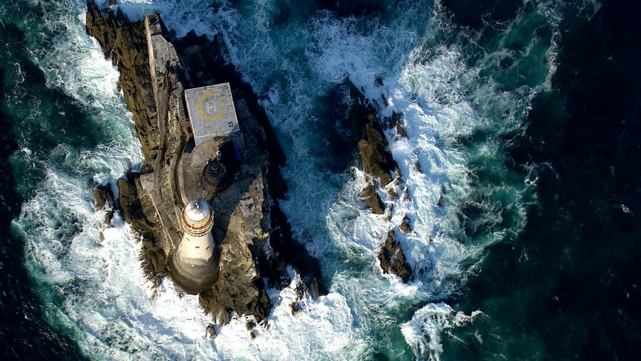aerial filming fastnet lighthouse with the H125