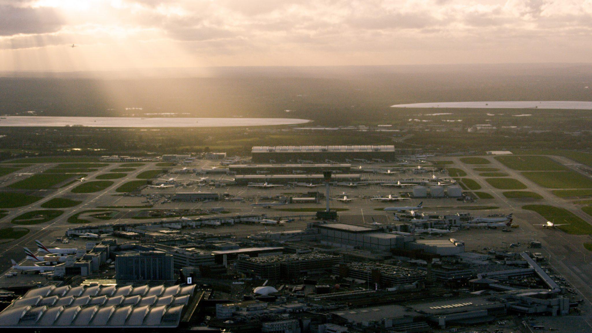 aerial shot of Heathrow Airport