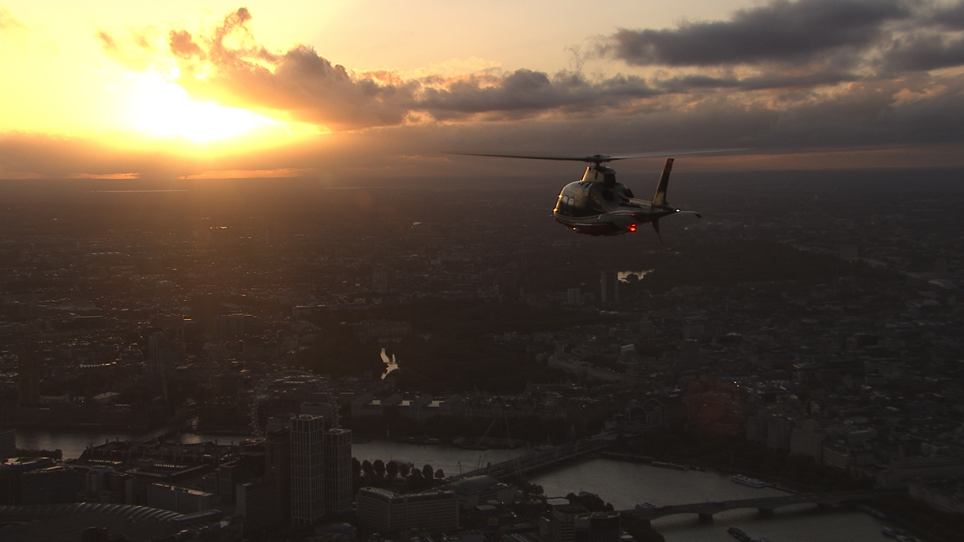 Helicopter flying for the pride of Britain awards 2020