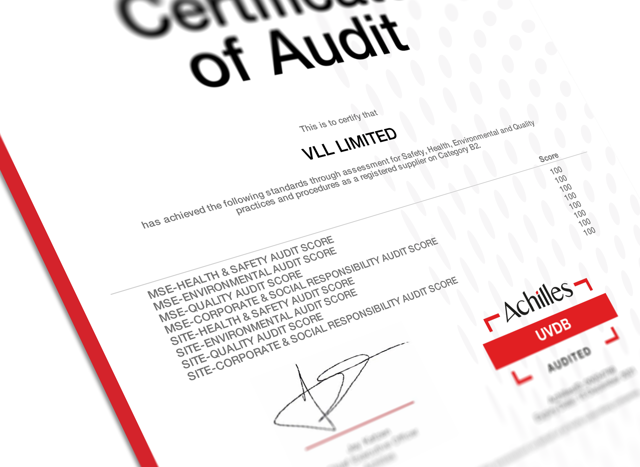 100% from Achilles audit