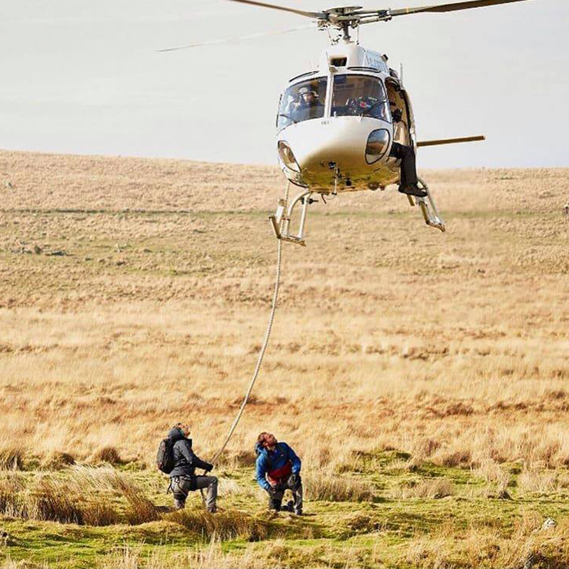 bear grylls and Gareth Southgate stunt helicopter
