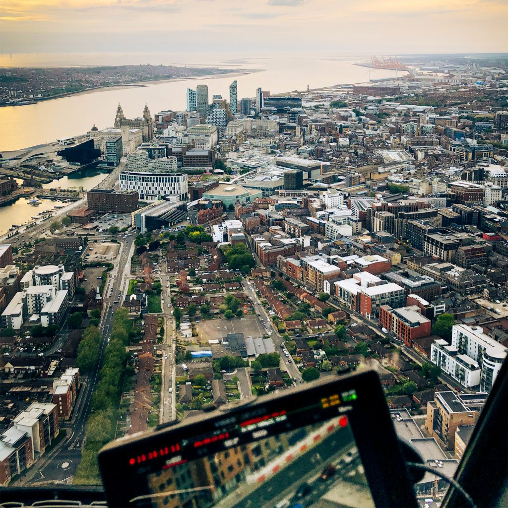 aerial filming over liverpool for bbc ambulance